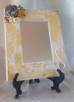 Vintage style mirror, crackle paint was used to give an aged look.