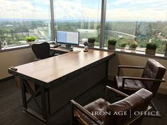 L shaped hybrid executive office desk  | industrial office furniture |  | modern industrial commercial furniture |  | rustic office furniture |  | industrial desk |  |industrial table | http://www.ironageoffice.com/