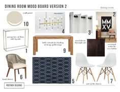 modern dining room mood board by #PostboxDesigns, wood table, gold chandelier, modern chairs, roman numerals