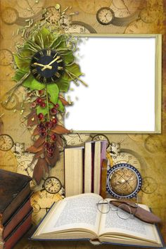 Photo PNG Frame with Books and Clock.