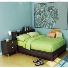 Kids Full Wood Storage Bed 3 Piece Bedroom Set in Chocolate #kidsbedroomfurniture