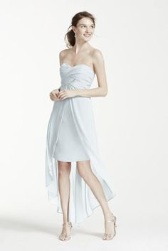 High low dress with split front detail and sheer hem gives this dress layers of unique appeal!  Fully lined. Back zip. Imported polyester.  Dry clean only. Also available in extra length as Style 2XLF15678.
