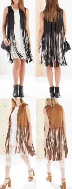 Breeze through balmy days in this Fashion Fringed Faux Suede Vest, and enjoy the dace of the wind in this season. Find it at OASAP.