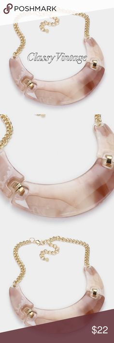 """Stunning peachy Celluloid crescent necklace set Excited about seeing Celluloid in the jewlery industry again. So many unique and beautiful pieces have been made from this product since 1856. It is one of the earlist forms of plastic but has the unique marble look I've always loved. It is difficult and expensive to produce ( but I think worth it). it is used a lot in guitar picks and table tennis balls. Necklace is 16 inches long + 3"""" extender. Earrings are 1.5 long and decor is 1.5 long…"""