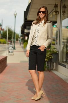 Greater Than Rubies...For work, I swapped the jeans for bermuda shorts and added a coco-chanel-inspired jacket and nude pumps. Layering prints, like the polka dot with the subtle check is a favorite of mine.