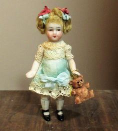 """Two Little (4 1/2"""" & 3 1/4"""") all bisque Antique German Mignonette from nhlove on Ruby Lane"""