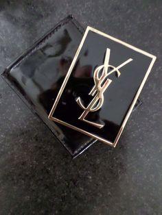 YSL Yves Saint Laurent authentic black enamel gold compact mirror case