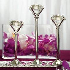 """Set de 3 candelabros mesa principal """"Diamond""""."""