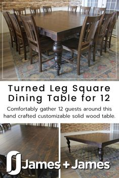 The Square Dining Table for 12 will comfortably seat guests at your luxe dinner party or casual gathering. Place settings for 12 guests at this table will look gorgeous with the natural wood grain in the finish color you choose. The hand crafted square dining table for 12 features a durable finish that won't get water rings, so sit and chat with friends and family for hours after dinner worry free. Square Dining Room Table, Dark Wood Dining Table, White Wood Table, Natural Wood Table, Pedestal Dining Table, Solid Wood Dining Table, Modern Dining Table, Square Tables, Table For 12