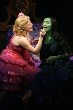 Eden Espinosa as Elphaba and Megan Hilty as Glinda in Wicked, from EdenEspinosa.com