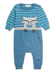 BONNIE BABY Racoon knitted playsuit 0-12 months