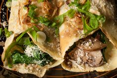 Mushroom, Spinach, and Parmesan Crêpes  Ingredients  1/2 to 2/3 cup crêpe batter 1 1/2 tablespoons unsalted butter 1 medium shallot, small dice 1 medium garlic clove, minced 1/2 teaspoon dried thyme Kosher salt 6 ounces mushrooms, sliced thin 2 cups baby spinach leaves 1/2 cup finely grated Parmesan cheese