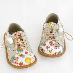 Cute little shoes with bear print, elastic panel sides and toggle laces. Fun, quirky and comfortable.