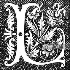 Decorative Capital Letter L Canvas Art - Ken Welsh Design Pics x Image 1 of 1 Illuminated Letters, Illuminated Manuscript, Vintage Lettering, Hand Lettering, Graffiti Lettering, Lettering Styles, Lettering Design, Renaissance, Art Nouveau