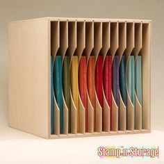 Ikea Expedit Paper Holder Storage 8.5x11/ 12x12 - rotate it for horizontal paper storage. Would be so awesome for glass!!