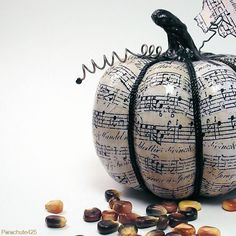 Black  White: Decoupage Halloween or Fall Pumpkin Music available from Parachute425