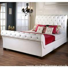 Leather bed frames on pinterest leather bed frame bed for Diamond bed frame