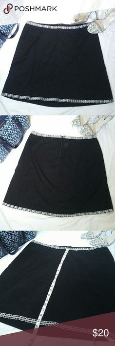 Torrid Flare Skirt with White Lace Trim Gently used and in good condition.  This black skirt has a slight flare and features a white and black trim on the hems. The back features a zipper.  Size: 16 Material: Cotton, Spandex Measurements: Please see photos for all measurements  Colors may vary slightly from photos No trades! Bundle for best deal torrid Skirts