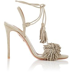 Aquazzura Women's Wild Thing Sandals (€705) ❤ liked on Polyvore featuring shoes, sandals, heels, green, fringe heel sandals, green shoes, green high heel sandals, ankle strap high heel sandals and green sandals