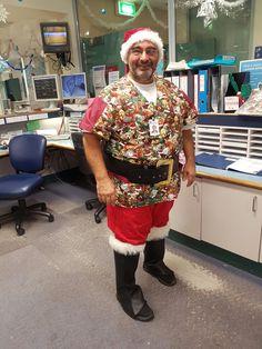 One very happy customer in his Christmas scrub shirt