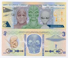 Earth Occupation Currency - Novelty Polymer Note - Three Terrestrial Credits