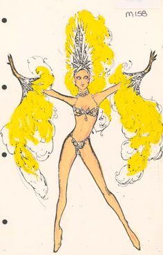 "A Pete Menefree costume design drawing for the show ""Jubilee!"" at the MGM Grand Hotel and Casino in Las Vegas, 1981.  The showgirl pictured here is wearing a jeweled bikini with a matching yellow headdress and cuffs.  Part of UNLV Libraries ""Showgirls"" digital collection."