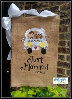 Just Married Getaway Car Girl Embroidery, Applique