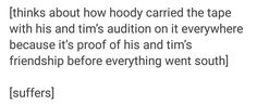 """idk why i just hate it when people call him """"Hoody"""" like it's the Hooded Man/Brian dammit, but okay"""