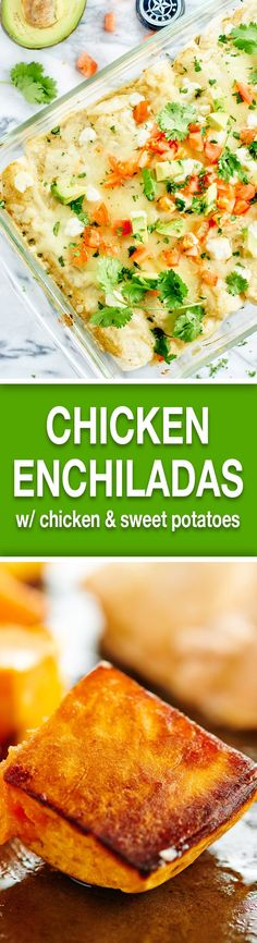 These Green Chile Chicken Enchiladas are stuffed w/ sweet potatoes, chicken, black beans, goat cheese, & Monterey jack cheese! We ♥ easy dinner recipes! showmetheyummy.com #mexican #chicken