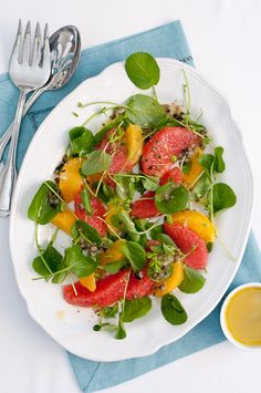 Watercress Citrus Salad with Olive-Caper Vinaigrette (from @Lindsey Johnson - Cafe Johnsonia)