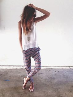 Printed Pants + Fringe - Teen Fashion - follow @Christina Childress Childress Spencer Fashion