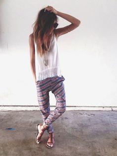 Printed Pants + Fringe - Teen Fashion - follow @Christina Childress Childress Spencer Fashion