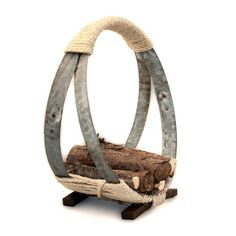 Barrel Hoop Firewood Rack made from reclaimed wine barrel hoops and staves. Wine Barrel Crafts, Wine Barrel Rings, Wine Barrels, Wine Barrel Table, Barrel Bar, Wine Table, Whiskey Barrel Furniture, Barris, Barrel Projects