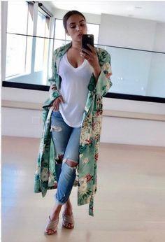 Kelly Green Floral Kimono Robe