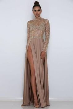 Long sleeve high neck sequin sheer long evening luxe gown with double slit in front Details Polyester Sequin, Jersey Imported Delicate Cold Wash Fits True To Size Do Not Iron, Steam Skirt Only Elegant Dresses, Pretty Dresses, Formal Dresses, Long Ball Dresses, Beautiful Gowns, Dress To Impress, Ball Gowns, Evening Dresses, Party Dress