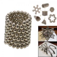 216pcs+3mm+DIY+Buckyballs+Neocube+Magic+Beads+Magnetic+Toy+Silver