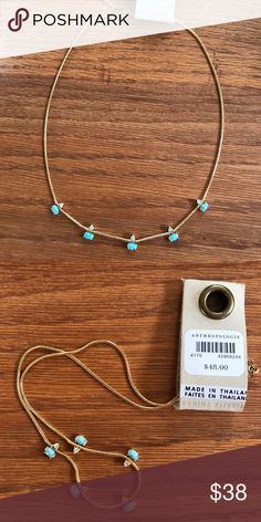 """Anthropologie Delicate Gold Chain Necklace NEW! Beautiful necklace accented with blue faux Turquoise and crystal. 16"""" with 2"""" extender. No trades or lowball offers please. Anthropologie Jewelry Necklaces"""