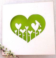 Hochzeitskarte mit herziger Blumenwiese
