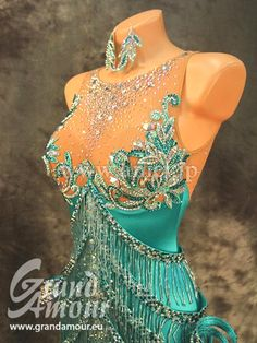 cyan blue latin dress crystal bodice design