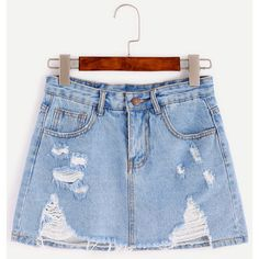 Blue Bleach Wash Distressed Denim Skirt ($24) ❤ liked on Polyvore featuring skirts, shein, a line patterned skirt, blue a line skirt, summer skirts, blue print skirt and short a line skirt