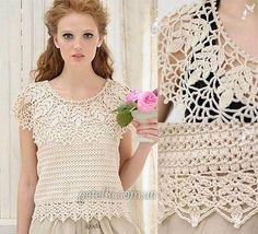 Crochet Top with Round Lace Yoke ~ Diagrams/Charts Only ~ Not in English | Топ с круглой ажурной кокеткой. Схемы вязания