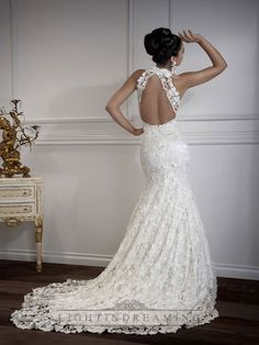 Floor Length Mermaid Sweetheart Open Cross Back Wedding Dress