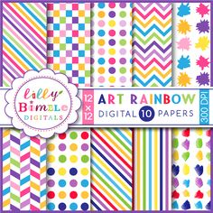 10 brightly color rainbow spectrum digital papers for art parties and birthdays. Each paper is saved as a high resolution 300 dpi jpg.