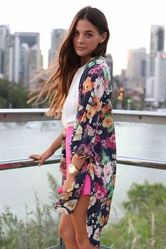 I like the length of this duster. Spring Fashion #women #fashion