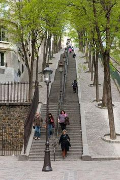 Montmarte's iconic staircase in Paris, France.