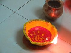 pooja time..we light d diya and pray to god!