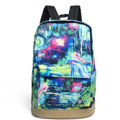 Abstract Printing Canvas Travelling Backpack