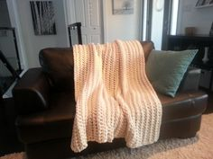 Modern Crochet Blanket  Cream Crochet Blanket by MakeItCozyCrochet