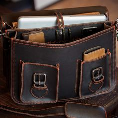 Rugged Leather Briefcase with Contrast Orange Stitching