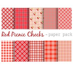 RED PICNIC CHECK Papers Digital Paper Pack 10 by DigitalAlice
